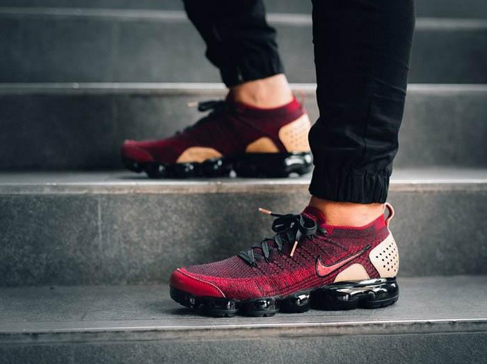 Nike Air VaporMax Team Red on feet