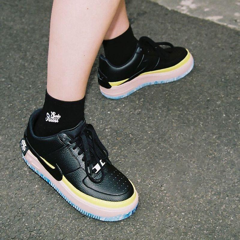 Women Nike AF1 Jester Black Sonic Yellow ON FEET