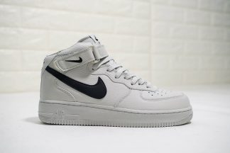 Nike Air Force 1 Mid Light Bone Black Swoosh
