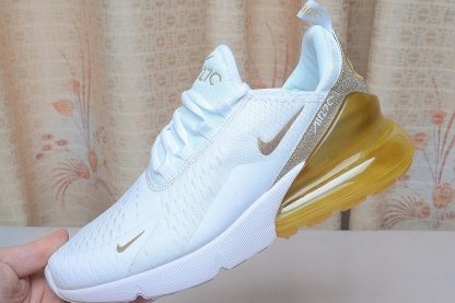 2019 shoes Nike Air Max 270 White Gold Glitter