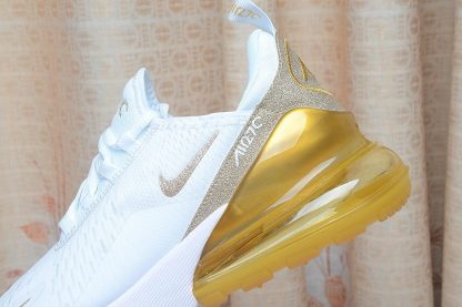 Nike Air Max 270 White Gold Glitter heel