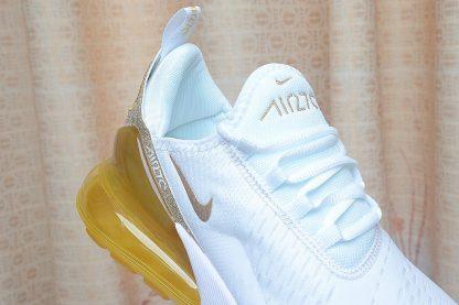close look at Nike Air Max 270 White Gold Glitter