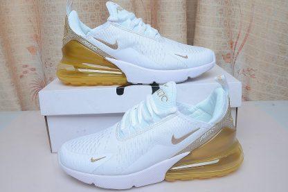 mens Nike Air Max 270 White Gold Glitter