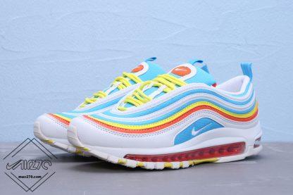 2019 Air Max 97 White-BlueYellow GS Shoes
