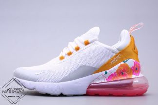2019 Nike Air Max 270 White Yellow with Flower