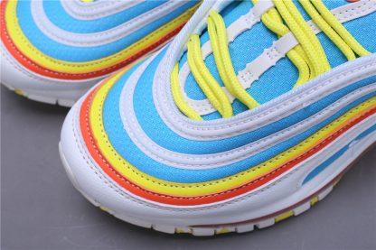 Air Max 97 White-BlueYellow GS Shoes toe
