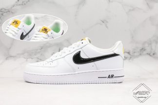 Nike Mens Air Force 1 07 White With Black Leather Swoosh