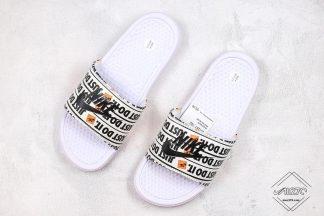 Nike Benassi JDI Just Do it White Print Slide Black