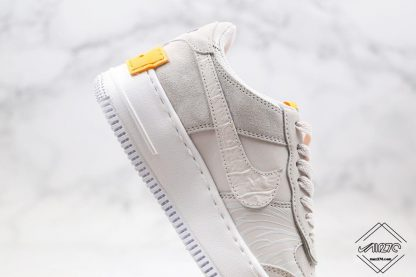 Nike Air Force 1 Shadow Vast Grey Laser Orange swoosh
