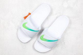 Nike Benassi Sandal White Green Swoosh