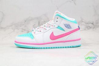 GS Jordan 1 Mid White Pink Green Soar