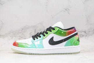 Air Jordan 1 Low Galaxy White Black-Lucky Green