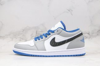 Air Jordan 1 Low White True Blue-Cement Grey-Black 553558-103
