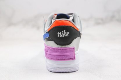 Womens Nike Air Force 1 Shadow Metallic Silver Fuchsia Glow Heel