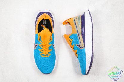 Nike Epic React Infinity Run Flyknit Blue Yellow tongue