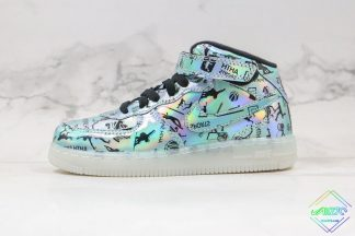 Kids Nike Air Force 1 High Light Up Turquoise