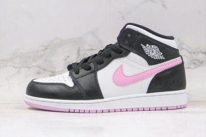 GS Jordan 1 Mid White Black Light Arctic Pink