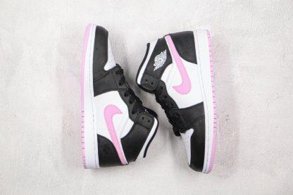 GS Jordan 1 Mid White Black Light Arctic Pink panels