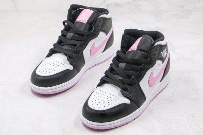 GS Jordan 1 Mid White Black Light Arctic Pink tongue