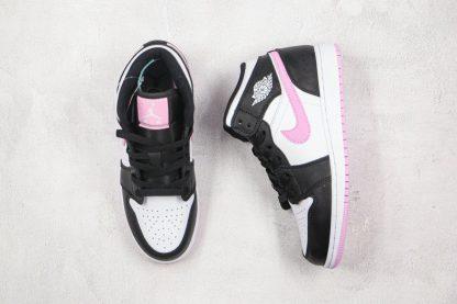 new GS Jordan 1 Mid White Black Light Arctic Pink