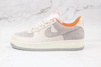 Grey White Orange Nike Air Force One 1