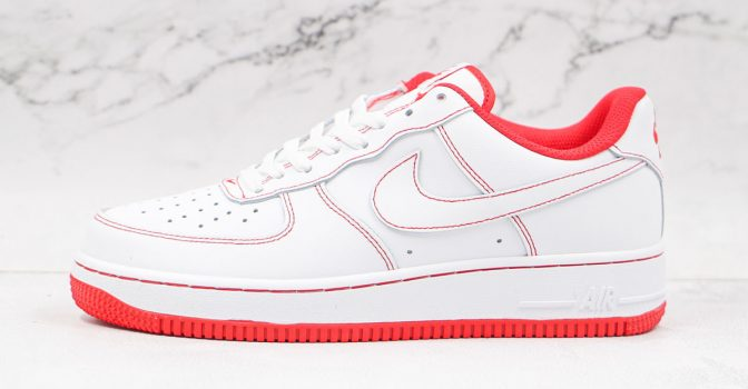 AF One Low 07 White University Red Contrast Stitch