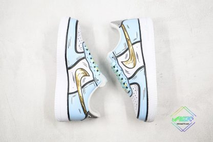Nike Air Force 1 Low Frozen Blue Gold swoosh
