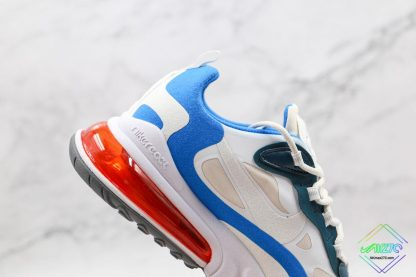 Nike Air Max React 270 White Blue Orange lateral side