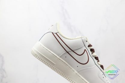 NK Air Force 1 White Burgundy Outline lateral side
