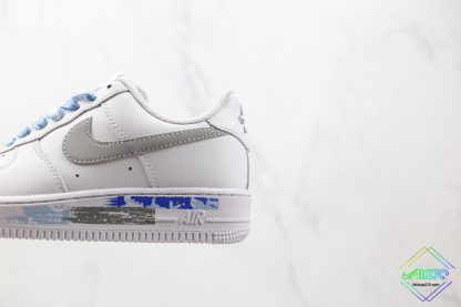 Nike Air Force 1 White Silver close look